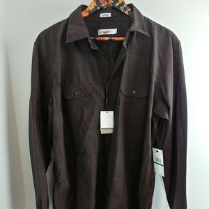Calvin Klein Brown Long Sleeve Button Shirt BNWT
